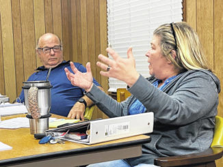 Brandon Tester   Daily Journal                                 Norman Town Councilwoman Renate Mann talks about the town's financial future while Mayor Pro Tem Stephen Cranford listens.