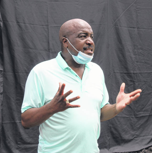 <p>Gavin Stone | Daily Journal</p>                                 <p>Dobbins Heights Mayor Antonio Blue speaks before the unveiling of the mural at the Dobbins Heights Community Park on Tuesday. </p>