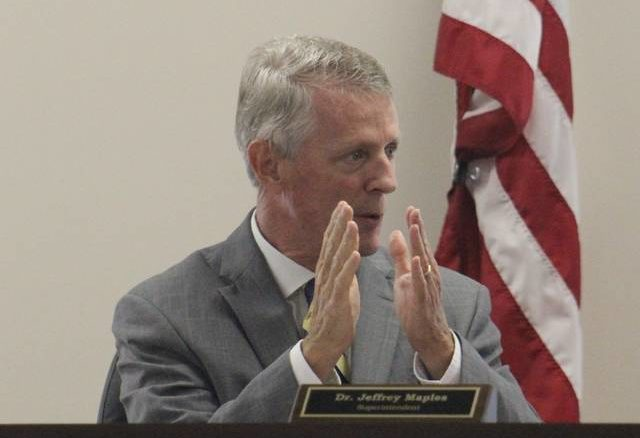 Brandon Tester | Daily Journal                                 Richmond County Schools Superintendent Jeff Maples addresses the board of education during Thursday's called meeting.