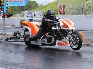 "Jay ""Bulldog"" Turner bursts off the starting line during a race at this weekend's Nitro Spring Nationals at Rockingham Dragway.                                  Contributed Photo"
