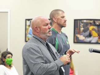"Richmond athletic director Rob Ransom presents the ""Return to Play"" protocol to the Richmond County Board of Education Tuesday night.                                  Neel Madhavan 