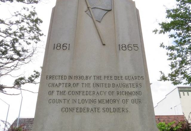 Daily Journal File photo                                 The Confederate monument in Harrington Square was erected in 1930 by the Pee Dee Guards Chapter of the Daughters of the Confederacy of Richmond County.