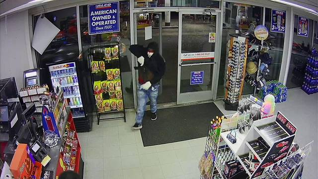 Photo courtesy of the Richmond County Sheriff's Office                                 This frame from surveillance video shows the alleged suspect in four armed robberies of convenience stores that have occurred over the last week.