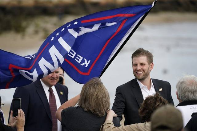 AP Photo | Robert F. Bukaty                                 Eric Trump, the son of President Donald Trump, greets supporters at a campaign rally, Tuesday, Sept. 17, 2020, in Saco, Maine.