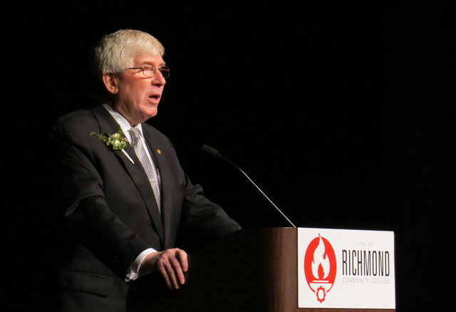 Daily Journal file photo                                 Sen. Tom McInnis speaks at Richmond Community College's gala earlier this year.