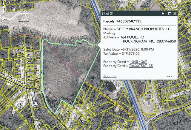 Richmond County GIS                                 This screenshot of GIS shows the rezoned property which is now open to housing development.