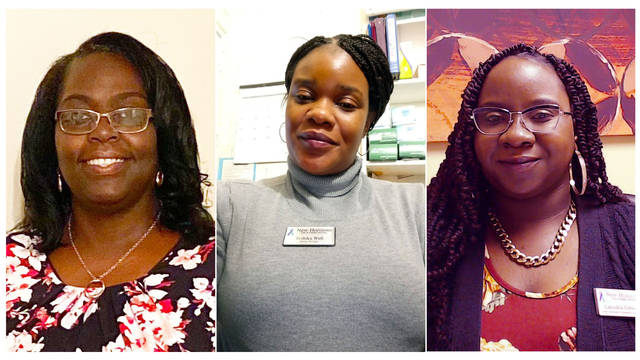 Photo courtesy of Richmond Community College                                 Pictured are New Horizons Life and Family Services employees, from left, Karen Bostick, Teshika Wall and LaKeshia Gibson, who all earned a degree in Human Services Technology from Richmond Community College.
