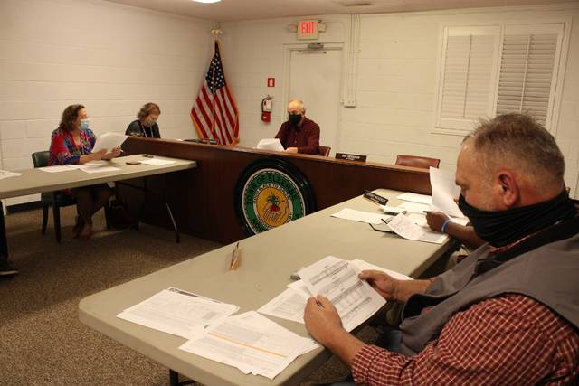 Gavin Stone | Daily Journal                                 The Ellerbe Town Council looks over the data presented along with the joint statement regarding the impact of the county's change to an ad valorem sales tax distribution method last year.