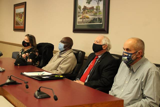 Gavin Stone | Daily Journal                                 From left, Norman Councilwoman Renate Mann, Hoffman Mayor Tommy Hart, Rockingham Mayor Steve Morris, and Ellerbe Mayor Fred Cloninger join a video chat with the Board of Commissioners Tuesday night