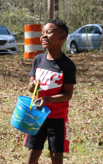 <p>Gavin Stone   Daily Journal</p>                                 <p>Tayben Thompson, 6, celebrates after finding another Easter egg on Sunday. </p>