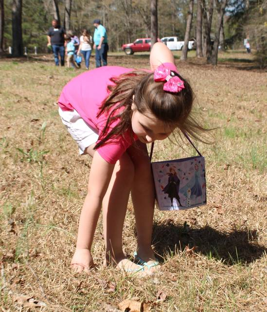 <p>Gavin Stone   Daily Journal</p>                                 <p>Patience Oxendine picks up an Easter egg.</p>