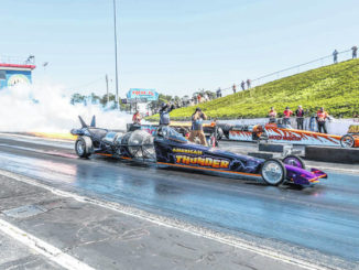 Terry Rosberg (left lane) and Dawn Perdue (right lane) race their jet dragsters at Rockingham Dragway Saturday.                                  Contributed Photo