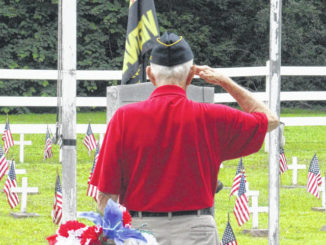 Daily Journal file photo                                 A local veteran honors fallen soldiers during the 2020 Memorial Day Ceremony at Richmond County Veterans Memorial Park.
