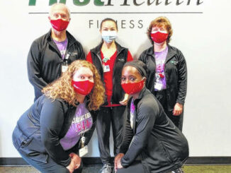 Photo courtesy of FirstHealth of the Carolinas                                 FirstHealth Cardiac Rehabilitation-Richmond staff Stephanie Jackson, Kadijah Clark, Tim Cameron, Nina Henderson and Lynn Quick.