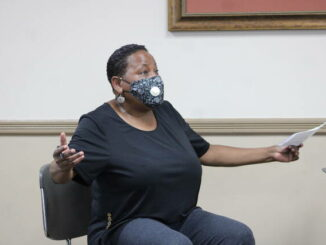 Jean Douglas speaks to the Hamlet City Council about recent crime on Tuesday.