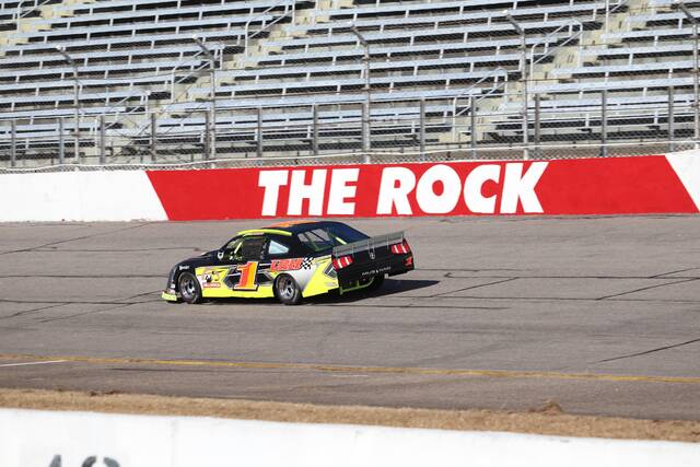 Daily Journal file photo                                 A stock car takes a test run around the Rockingham Speedway track in December during initial tire testing.