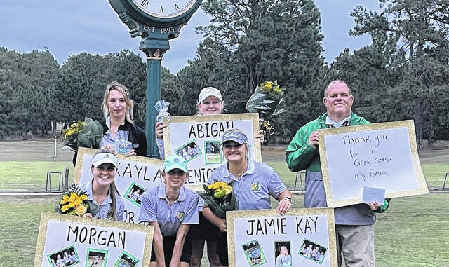 Richmond honored its four seniors during their final regular season golf match at Pinehurst # 6 on Monday: Makayla Webb (top left), Abigail Tatum (top right), Morgan Stutts (bottom left) and Jamie Sears (bottom right), along with Head coaches Keith Parsons (right) and Ella Munn (bottom center).  Contributed photo